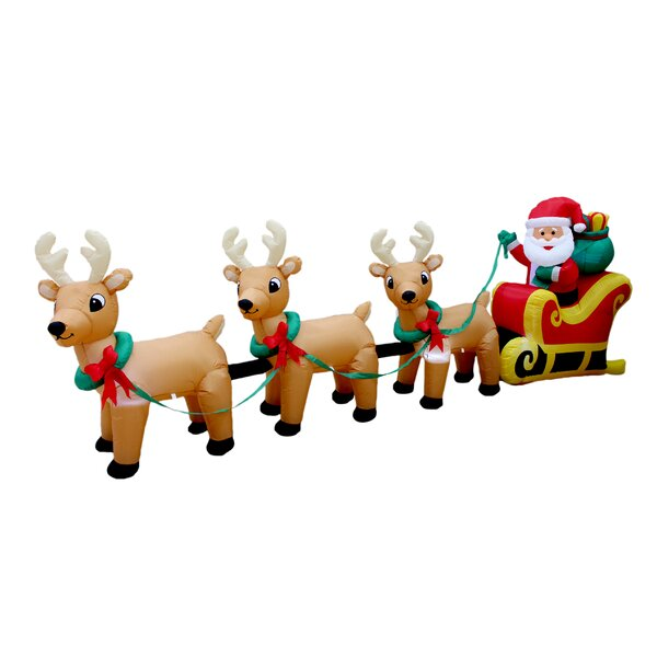 Christmas Inflatable Santa Claus on Sleigh with Three Reindeer Decoration by BZB Goods