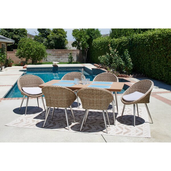 Chambless 7 Piece Patio Dining Set with Cushion by Corrigan Studio