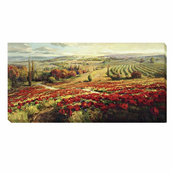 Red Poppy Panorama by Roberto Lombardi Painting Print on Wrapped Canvas by Artistic Home Gallery