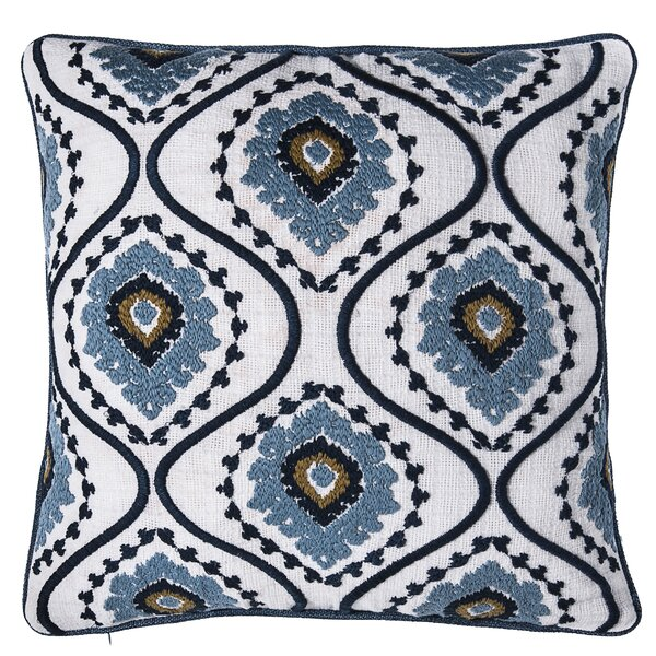 Sunrise Ikat Embroidered Throw Pillow by 14 Karat Home Inc.