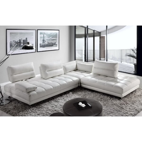 Carlyle Genuine Leather Right Hand Facing Modular Sectional By Orren Ellis