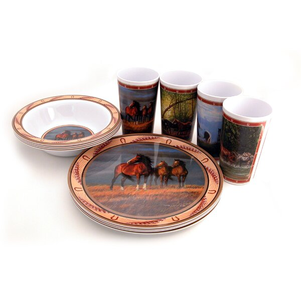 Horse Melamine 12 Piece Dinnerware Set, Service for 4 by MotorHead Products