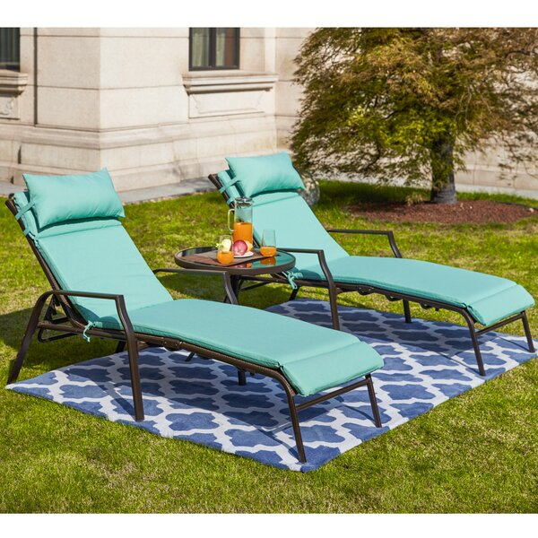 Wabbaseka Sun Lounger Set with Cushion and Table by Darby Home Co
