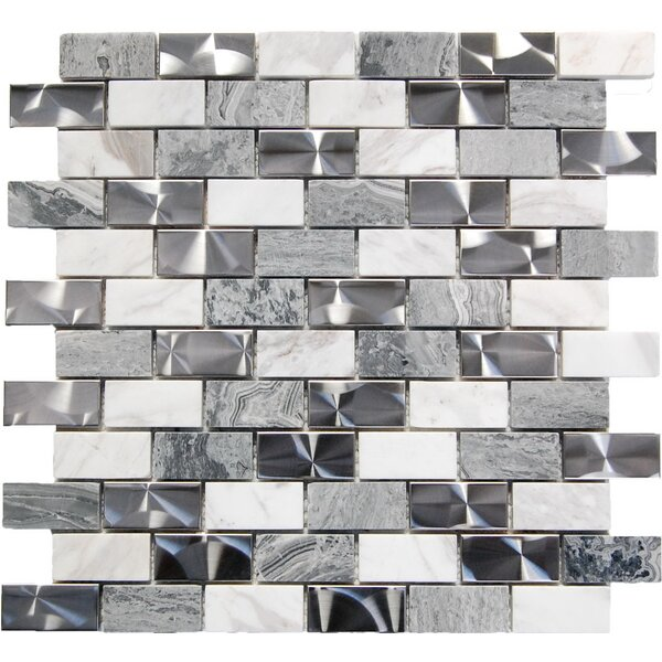 1 x 2 Mixed Material Mosaic Tile in Gray by Luxsurface