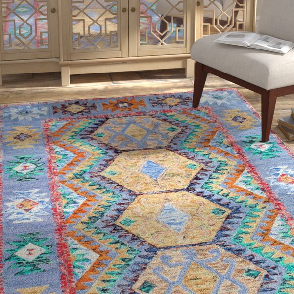 Wellton Hand-Tufted Blue/Yellow Area Rug by Bloomsbury Market