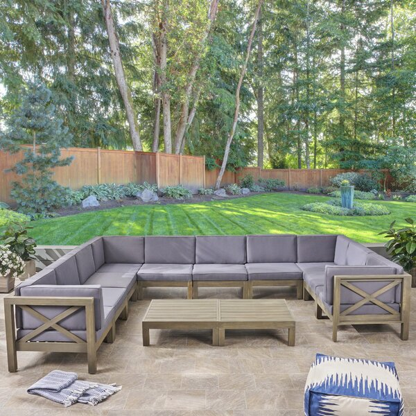 Hester Outdoor 12 Piece Sectional Seating Group with Cushion by Longshore Tides