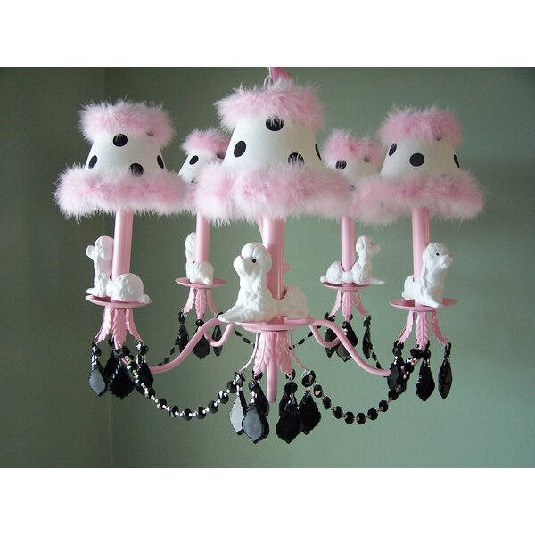 Fefe French Poodle 5-Light Shaded Chandelier by Silly Bear Lighting