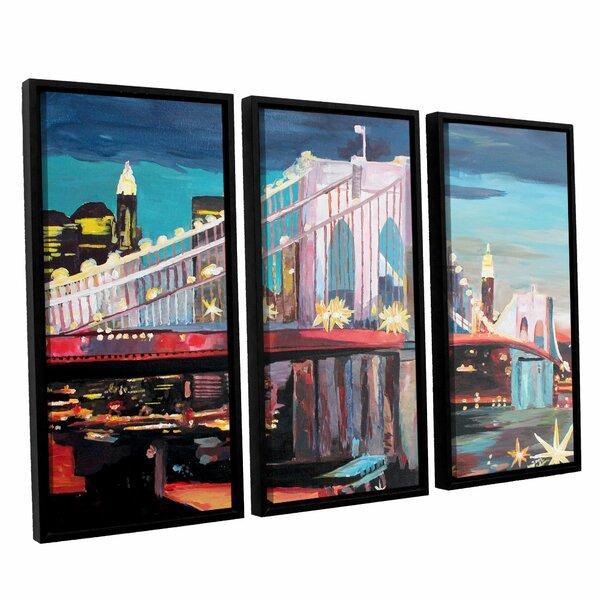 New York City-Manhattan Bridge by Marcus/Martina Bleichner 3 Piece Framed Painting Print Set by ArtWall