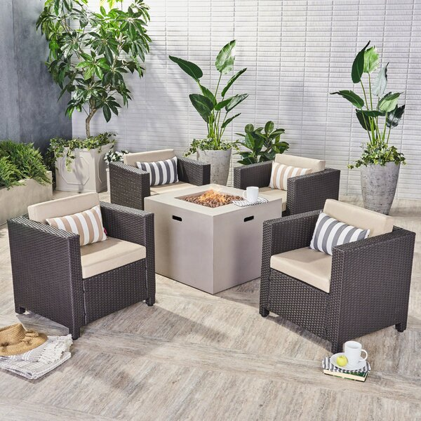 Ortonville Outdoor 5 Piece Rattan Sofa Seating Group with Cushions by Gracie Oaks