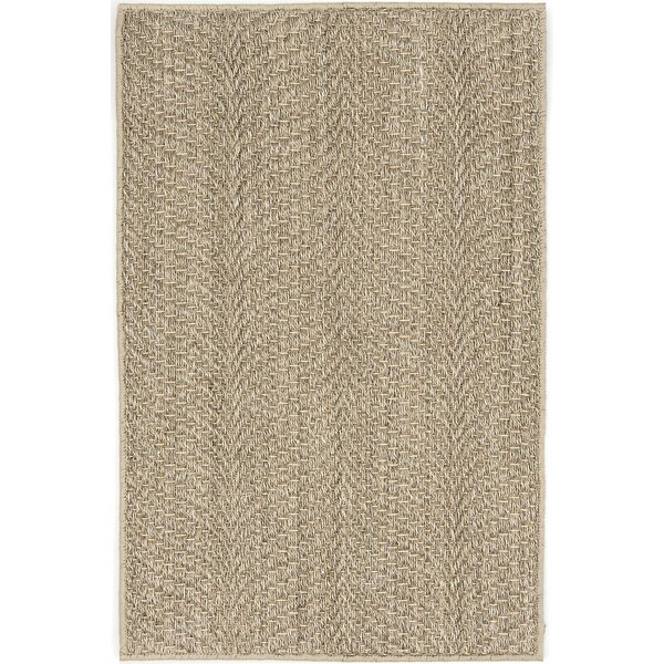 Wave Natural Woven Hand-Knotted Beige Area Rug by Dash and Albert Rugs