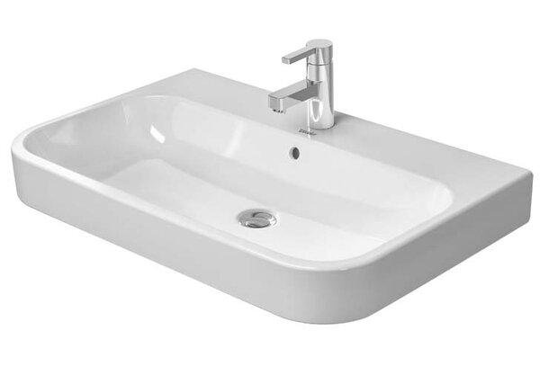 Happy D.2 Ceramic Rectangular Vessel Bathroom Sink with Overflow