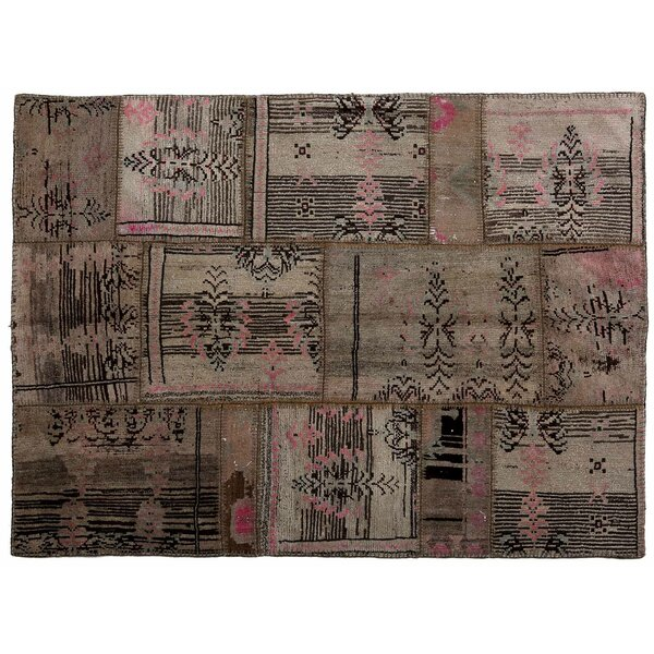 Karin Patchwork Hand-Knotted Wool Pink/Brown Area Rug by Bloomsbury Market
