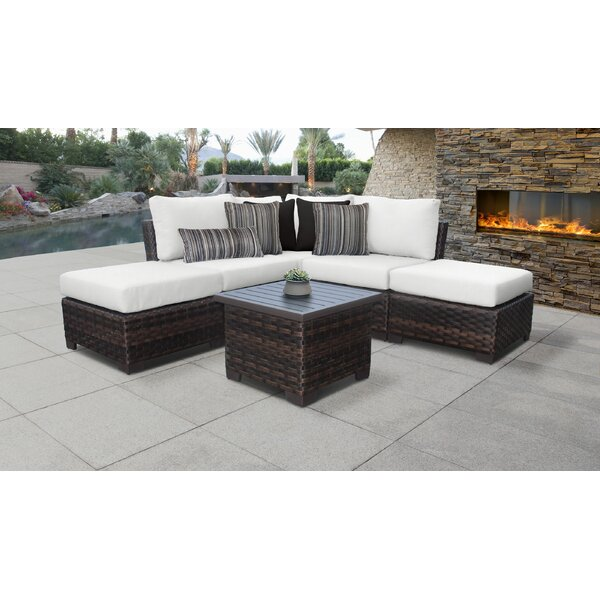 River Brook 6 Piece Outdoor Wicker Patio Furniture Set 06b by kathy ireland Homes & Gardens by TK Classics