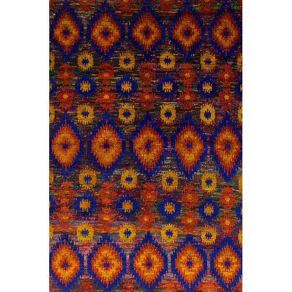 One-of-a-Kind Bert Hand-Knotted Silk Blue/Dark Copper Area Rug by Bloomsbury Market