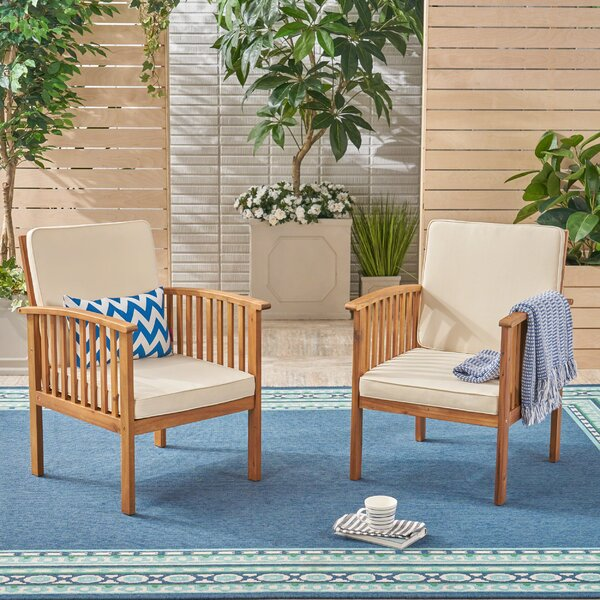 Crosby Outdoor Patio Chair with Cushions (Set of 2) by Highland Dunes