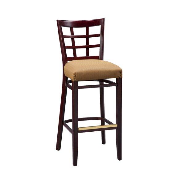 Amoroso Beechwood Lattice Back Fully Upholstered Seat Bar Stool by Red Barrel Studio