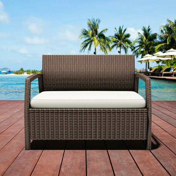 Leeman Outdoor Rattan Garden Bench By Ebern Designs