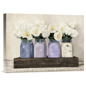 'Tulips in Mason Jars' by Thomlinson Painting Print on Wrapped Canvas by Global Gallery