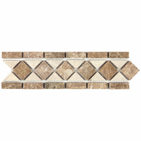 Emperador Light 3.25 x 12 Marble Classic Border Tile in Beige by Seven Seas