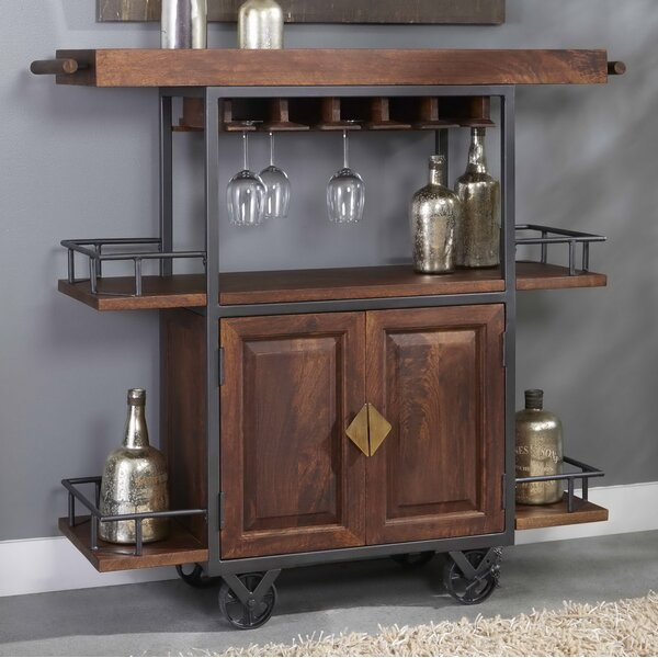 Zamora Two Door Wine Bar Cart by 17 Stories 17 Stories