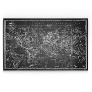 'Vintage Wold Map V' Graphic Art Print on Wrapped Canvas in Gray by Wexford Home