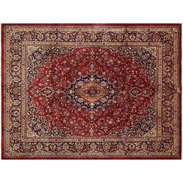 Barkhampstead Hand-Knotted Wool Red/Blue Oriental Area Rug by Bloomsbury Market