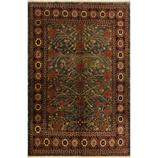 One-of-a-Kind Falk Super Kazak Hand-Knotted Wool Green/Beige Area Rug by Isabelline
