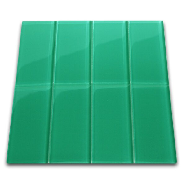 Vert 3 x 6 Glass Mosaic Tile in Emerald by CNK Tile