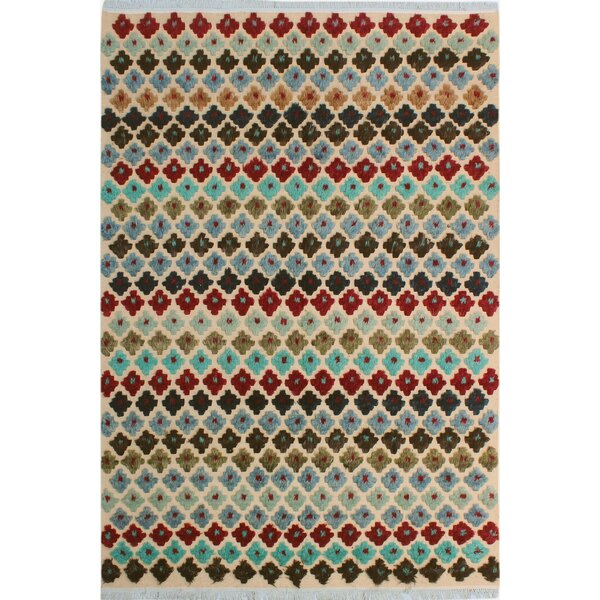 One-of-a-Kind Gowen Hand-Knotted Wool Beige/Blue Area Rug by Bloomsbury Market