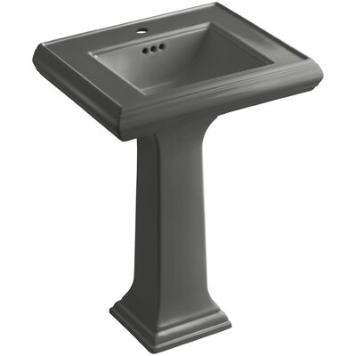 Pedestal Sink Ceramic Overflow Thunder Faucet Mount Single photo