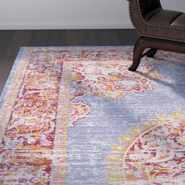 Kahina Vintage Distressed Oriental Blue/Red Area Rug by Bungalow Rose