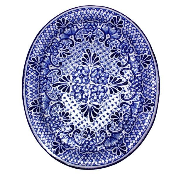 Alonso Lui Mexico Authentic Talavera Food Safe Ceramic Oval Plate by Novica