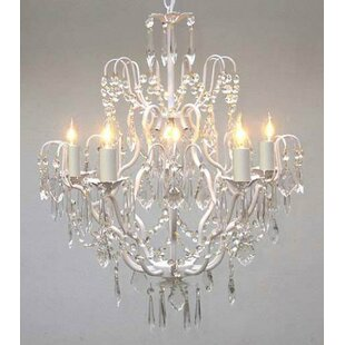 White coral chandelier wayfair clemence 5 light white hardwired crystal chandelier aloadofball Gallery