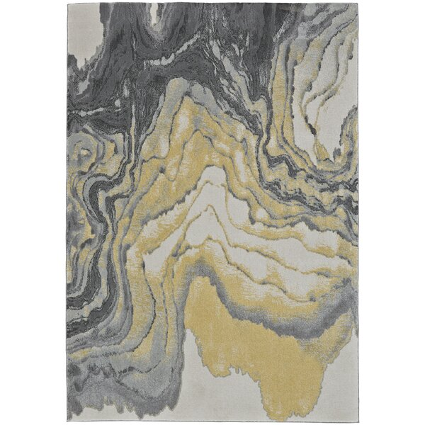 Ahaan White/Gray/Sunny Yellow Area Rug