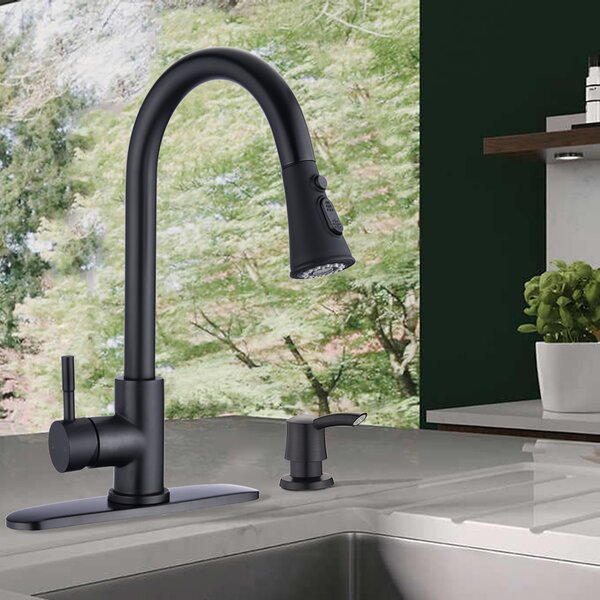 Kirtley Pull Down Single Handle Kitchen Faucet with Soap Dispenser