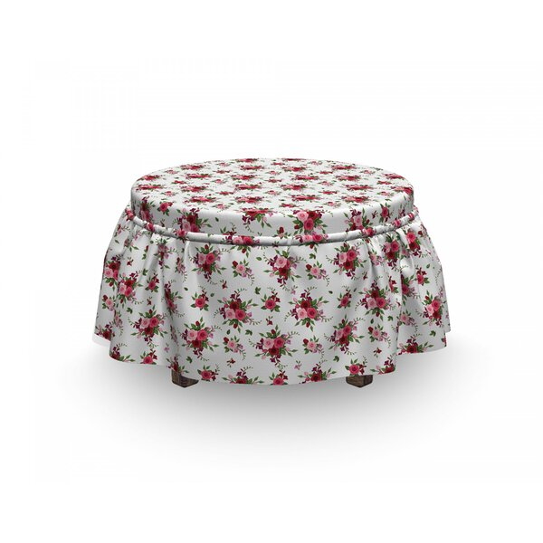 Review Flowers Bridal Bouquets Roses 2 Piece Box Cushion Ottoman Slipcover Set