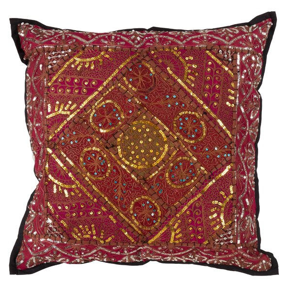 Mickie Handmade Sari Sitara Design Cotton Throw Pillow by Bloomsbury Market