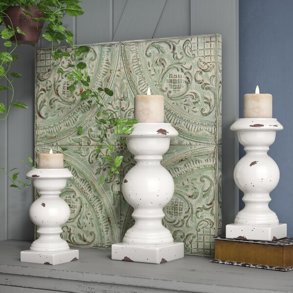 Rustic 3 Piece Ceramic Candlestick Set by One Alli