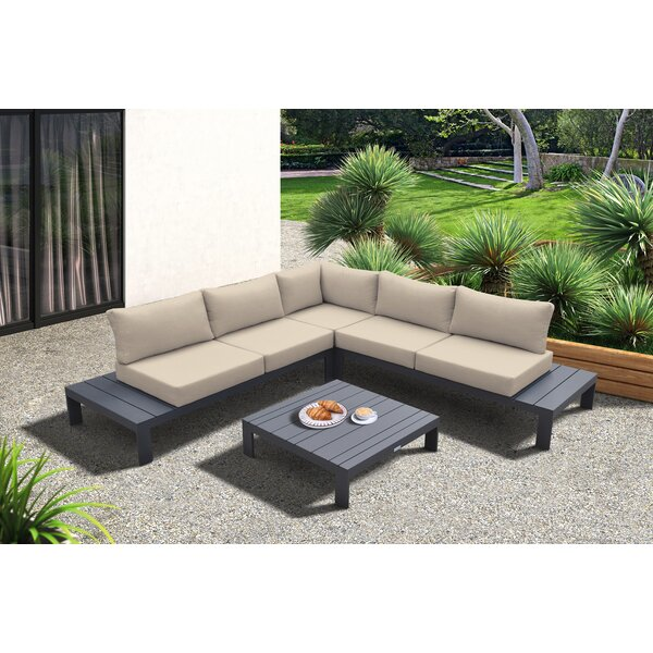 Quaker 4 Piece Sectional Seating Group with Cushions by Latitude Run