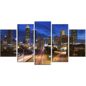 'Atlanta Skyline Twilight Blue Hour' 5 Piece Photographic Print on Wrapped Canvas Set by Design Art