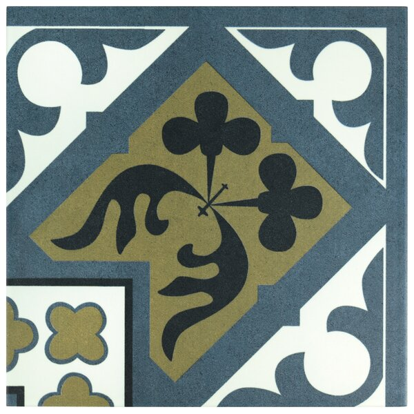 Seni Orleans Angulo 9.75 x 9.75 Field Porcelain Tile in Blue by EliteTile