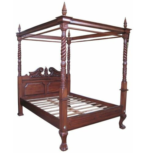 Four Poster Bed Astoria Grand Finish: Wax Polish, Size: Supe