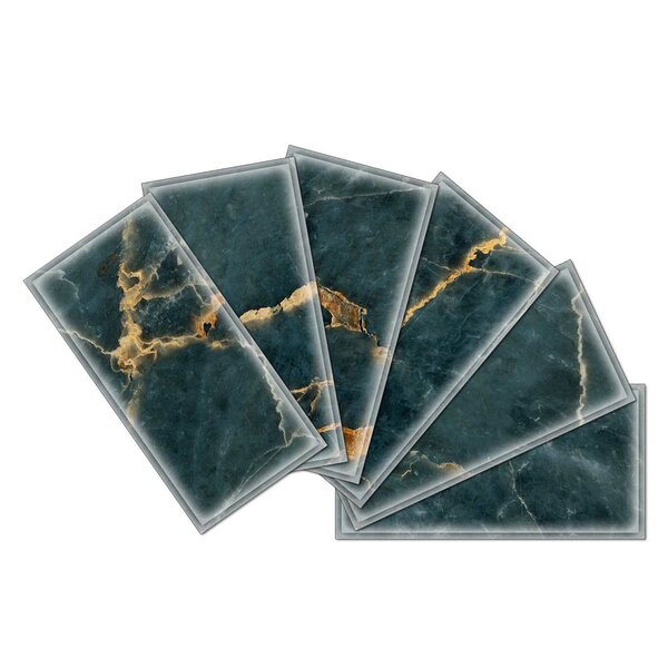 Crystal 3 x 6 Beveled Glass Subway Tile in Dark Green by Upscale Designs by EMA