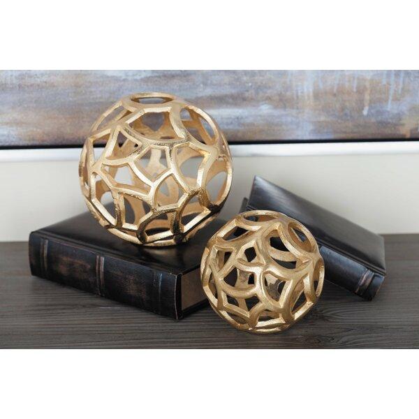 Aluminum 2 Piece Sphere Sculpture Set by Cole & Grey