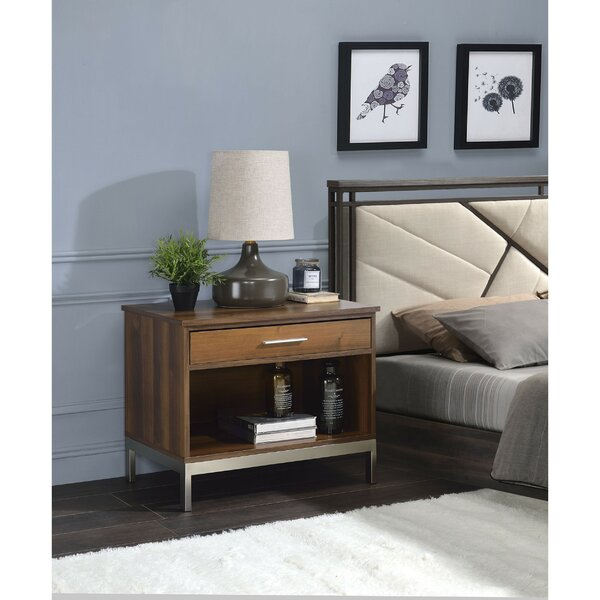 Refugio Metal Stand Wooden 1 Drawer Nightstand by Orren Ellis