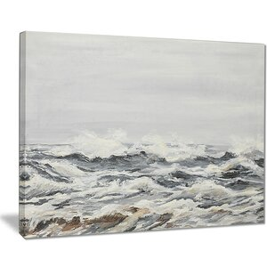 'Grey Sea Waves' Oil Painting Print on Canvas by East Urban Home