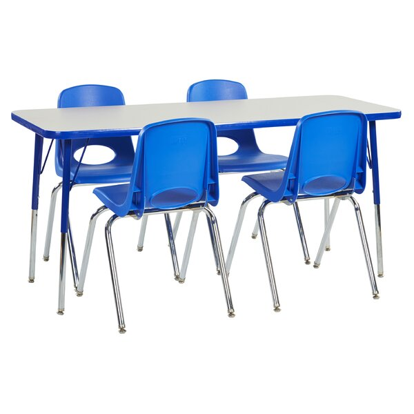 5 Piece 60 x 24 Rectangular Classroom Table and 18 Chair Set by ECR4kids