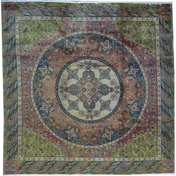 Hand-Knotted Wool Green/Brown Rug