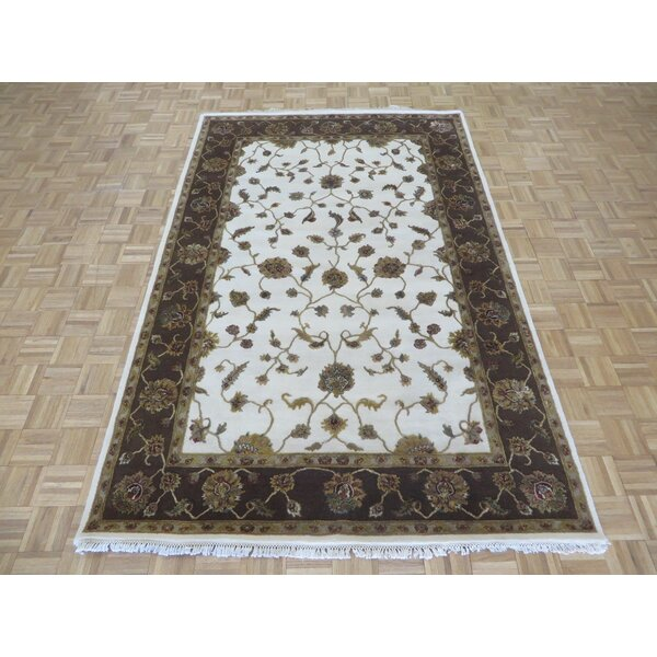 One-of-a-Kind Padro Hand-Knotted Wool Ivory/Brown Area Rug by Bloomsbury Market