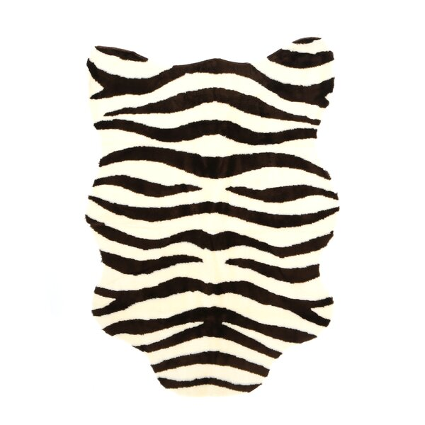 Animal Ivory/Brown Zebra Area Rug by Walk On Me